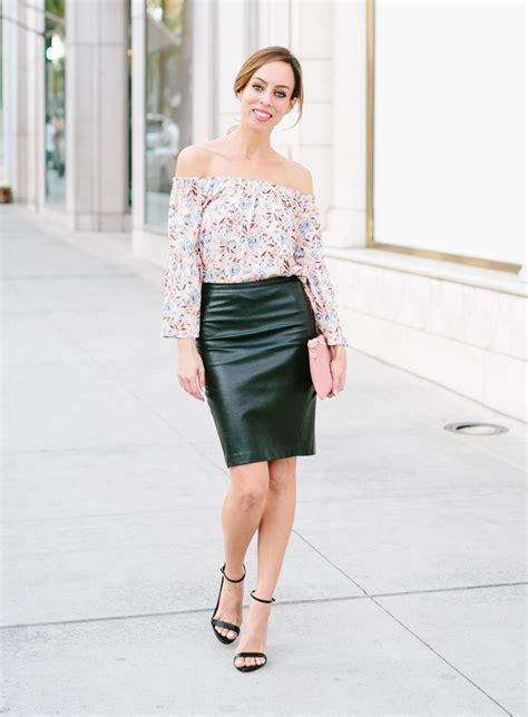 aldridge s leather skirt floral top fashion