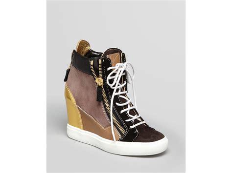 giuseppe zanotti lorenz wedge sneakers giuseppe zanotti wedge sneakers lorenz in brown khaki lyst