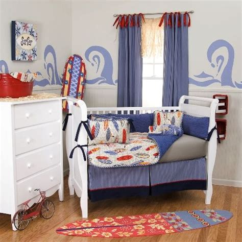 Surfboard Crib Bedding Surfing Baby Rooms Surf S Up Crib Bedding Blue Grey And Orange Surfboards Baby Bedding