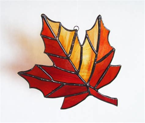 Maple Leaf Pattern Glass | stained glass fall maple leaf autumn suncatcher a