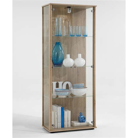 harry glass display cabinet with light in oak 13751