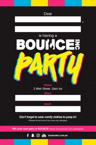 Free Bounce Invitation Template Bounce Party Invitations Cimvitation