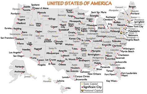 Printable Us Map With Capitals And Major Cities | united states major cities and capital cities map