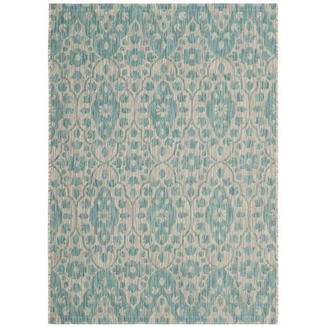 Safavieh Martha Stewart Gray Aqua 4 Ft X 5 Ft 7 In Martha Stewart Outdoor Rugs