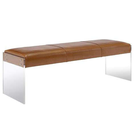 modern leather benches galileo brown leather modern living room bench