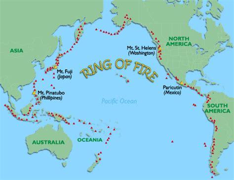 world atlas ring  fire volcano map