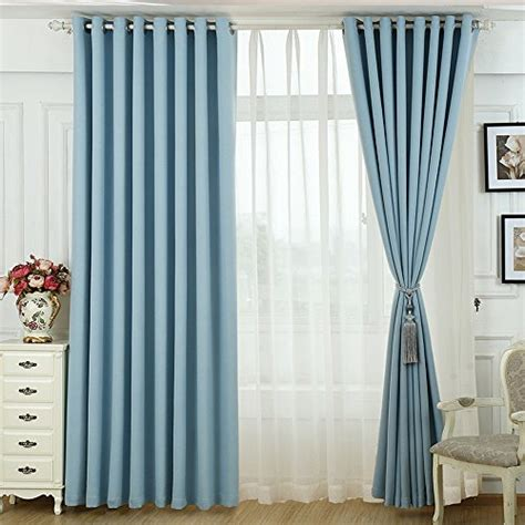 Linen Fabric Curtains Koting Grommet Top Modern Blue Polyster And Linen Blend Blackout Fabric Curtain Drapes One Panel