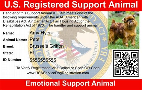 Emotional Support Animal Id Card Usa Service Animal Registration Emotional Support Animal Id Card Template