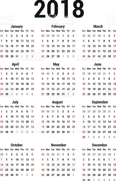 Calendã Semanas 2018 Calendar 2018 Stock Vector 501812927 Istock