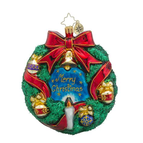 christopher radko ornaments radko merry christmas wreath