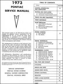 1973 pontiac cd rom repair shop manual manual all models