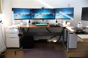 Laptop Desk Setup Ikea Gaming Computer Desk Setup With Drawer Also Monitors And White Pc Battle