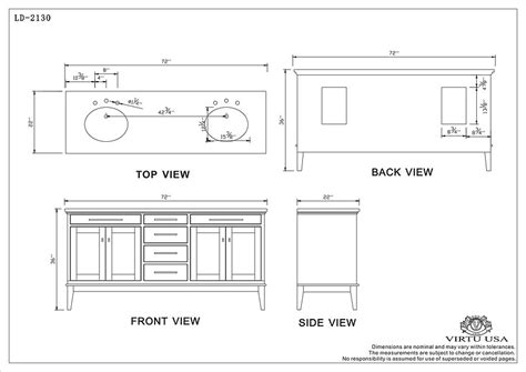 Bath Vanity Dimensions by Virtu Usa Battista Sink Bathroom Vanity Ld 2130 Sink Vanities 72 84 At