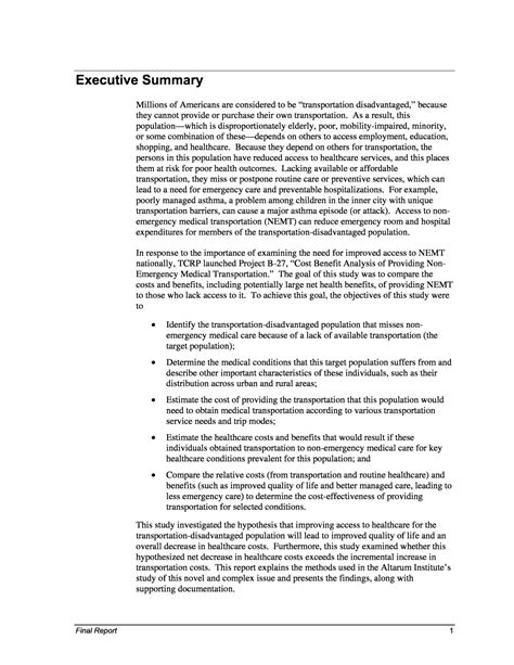 executive summary cost benefit analysis of providing non emergency transportation