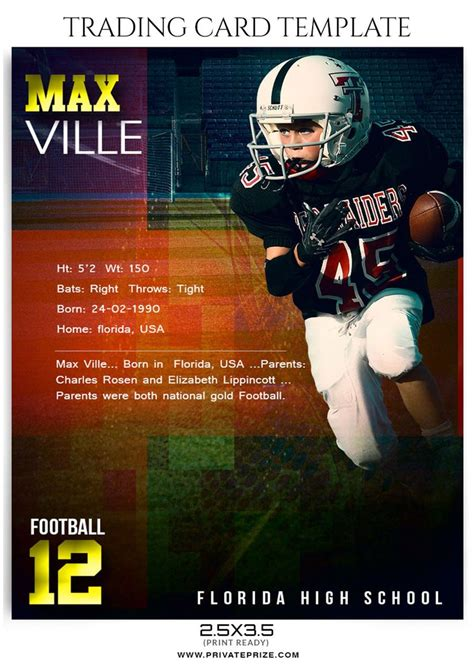football trading card template max ville sports trading card template