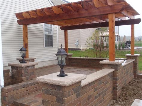 Paver Patio Columbus Ohio Pergola On Raised Patio Dublin Ohio Paver Patio Cedar Pergola Columbus Belgard Dublin Cobble