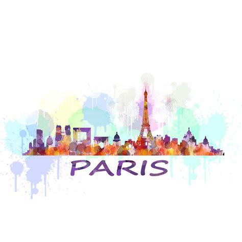Eiffel Tower Duvet Paris City Skyline Hq Watercolor Drawing By Hq Photo