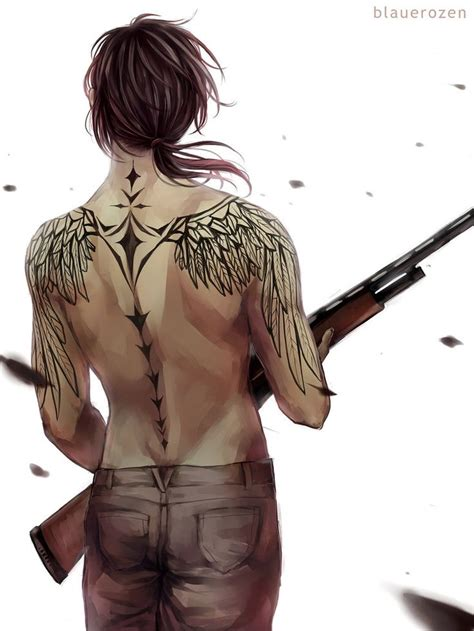 angel with a shotgun by blauerozen tattoo pinterest