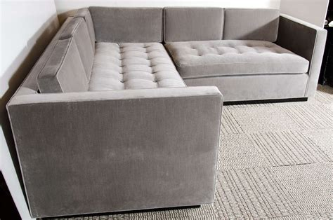 luxe modernist sectional sofa with biscuit tufting in grey