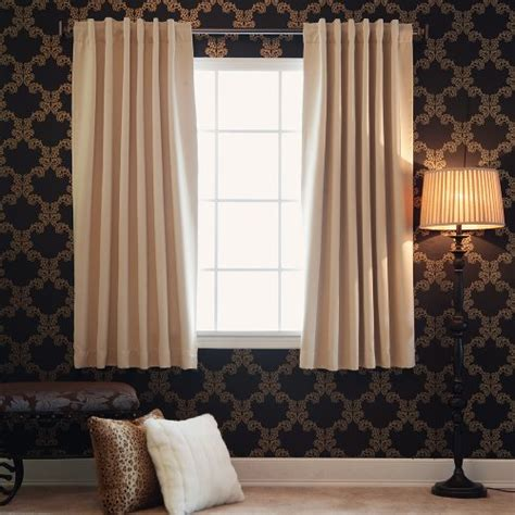 back tab blackout curtains beige back tab thermal insulated blackout curtain 104 w x