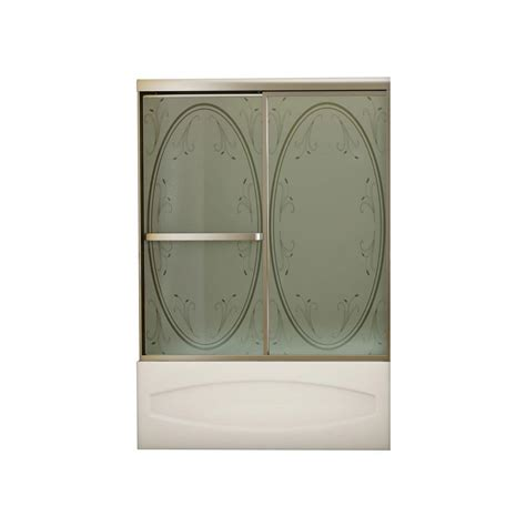 Home Depot Bathtub Shower Doors Maax Vertiga 59 In X 57 In Sliding Tub Shower Door In Satin Nickel With Summer Glass