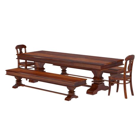 Benches For Dining Tables Nottingham Solid Wood 92 Trestle Dining Table Benches 2 Chairs