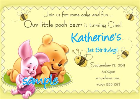 winnie the pooh birthday invitations templates website
