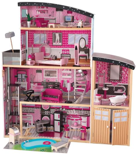 barbie sized doll house barbie size dollhouse doll house mansion play set furniture kidkraft sparkle toy ebay