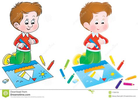 Boy Draws A Picture Stock Illustration Illustration Of Preschool 17359735 Kid Drawing Picture