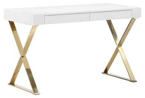 desk with gold legs glam white desks for your home office in every style and