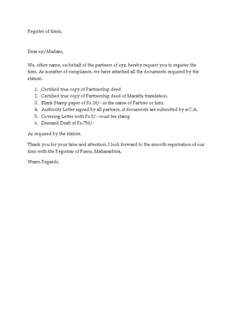 Authorization Letter Partnership Firm covering letter