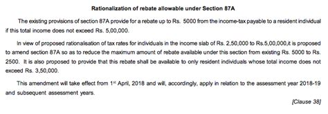 section 87a rebate under section 87a reduced to rs 2500 for ay 2018 19