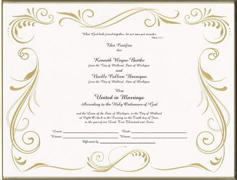 marriage certificate templates free best photos of blank church certificate templates church