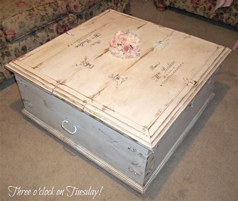 shabby chic trunk coffee table three o clock on tuesday sold shabby vintage label coffee