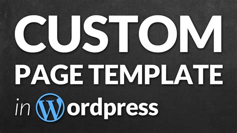 Create A Custom Page Template In Wordpress Step By Step Youtube Custom Page Template