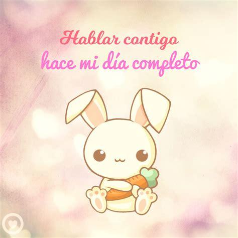 frase corta de amor conejo kawaii con frase corta de amor