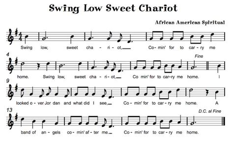 swing low sweet chariot piano beth s music notes swing low sweet chariot music class
