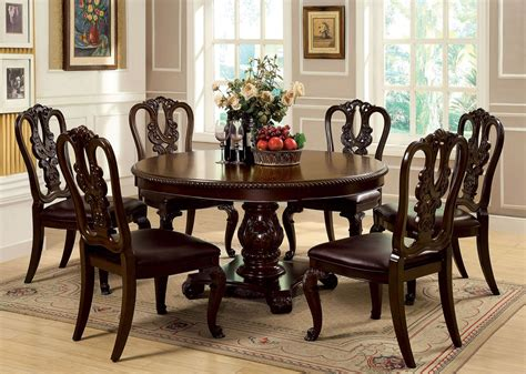round wood dining room table sets 7 piece bellagio round dining set with wooden side chair