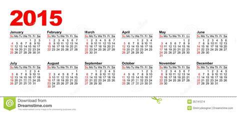 Calendario Americano Calendario Americano 2015 Horizontal Imagenes De Archivo