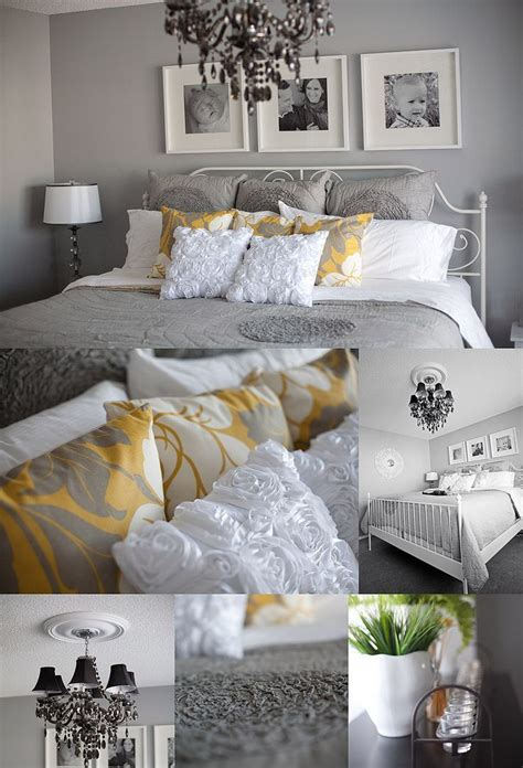 Grey white and yellow master bedroom ideas pinterest