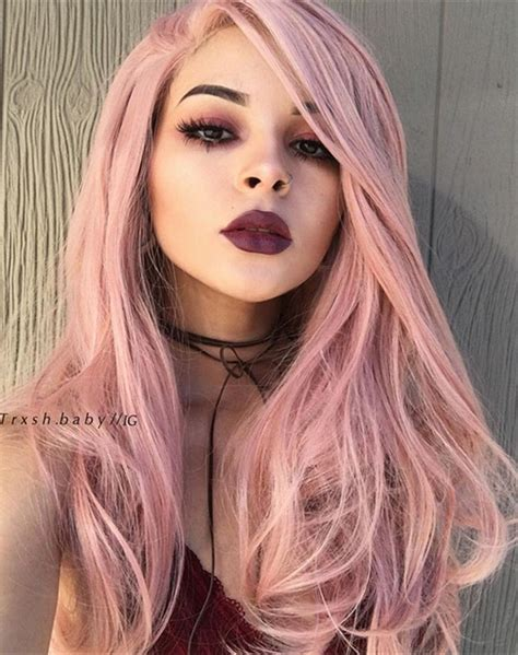 peach pink synthetic lace front wig hs