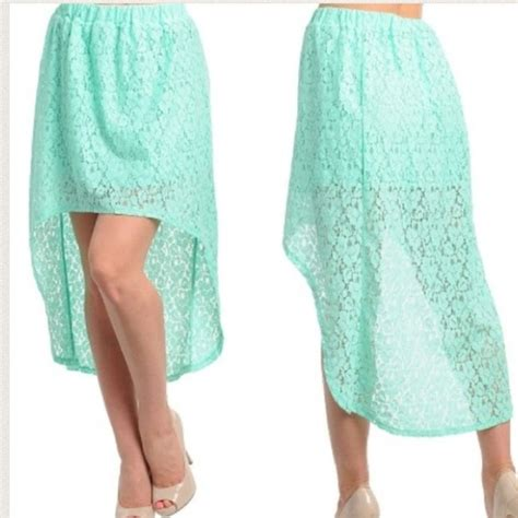 new turquoise lace high low skirt m from chin s closet on