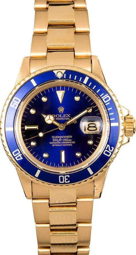 golden rolex rolex vintage gold submariner 1680 blue