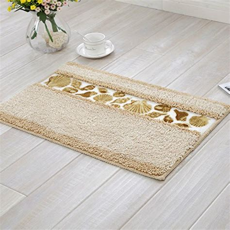 Pretty Bathroom Rugs Sytian 174 Decorative Floral Design Rural Style Beautiful Seashell Pattern Shaggy Area Rug Soft Non