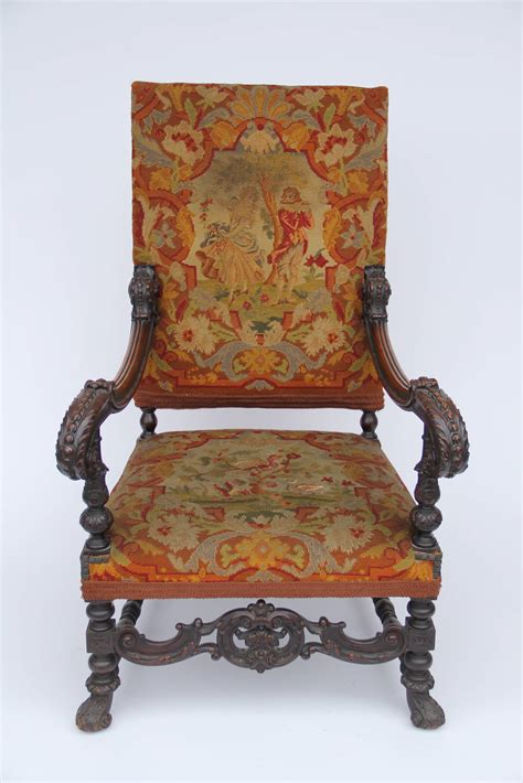 antique louis xiv style carved fauteuil high back armchair