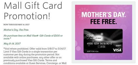 Visa Gift Card Fine Print | fee free visa gift cards at macerich malls 5 8 5 14
