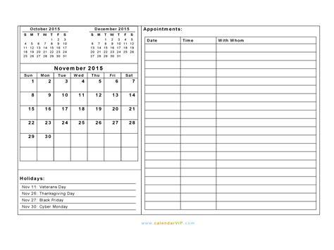 daily planner november 2015 november 2015 calendar blank printable calendar template