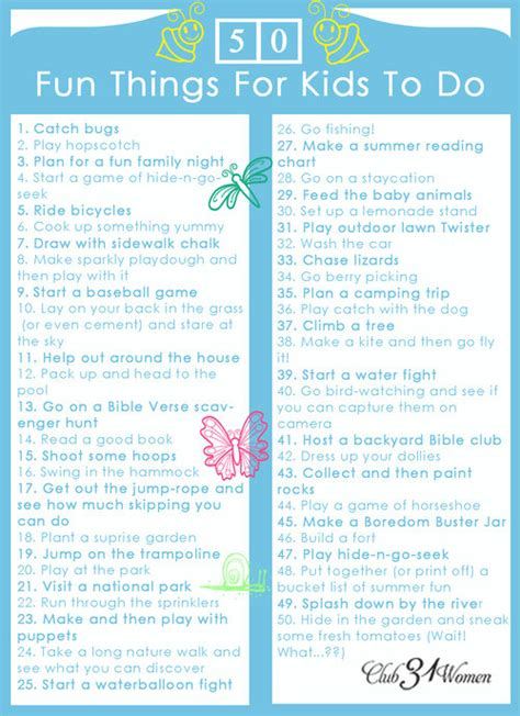 free printable 50 things for to do club 31