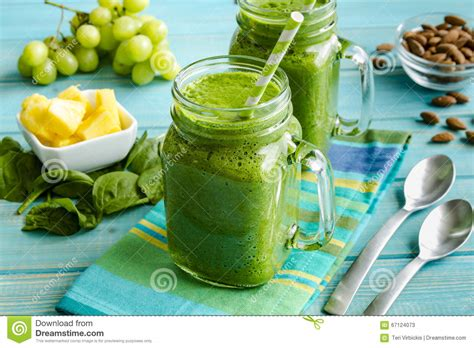 Spinach Detox Smoothie by Green Spinach Kale Detox Smoothie Stock Image Image