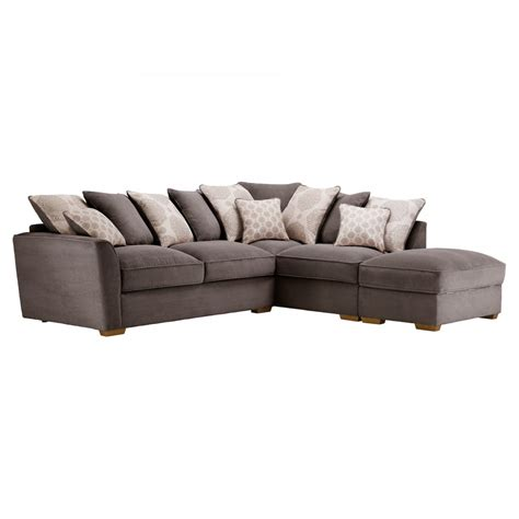 pillow back sofas nebraska pillow back left corner sofa in charcoal footstool